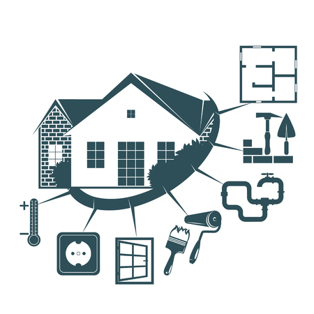 Repair and maintenance of the housing symbol for business Vector illustration.
