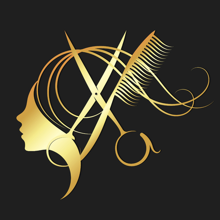 Girl and hairdressing scissors symbol for a beauty salon in gold color