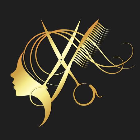 Simbolo di forbici parrucchiere e ragazza per un salone di bellezza in colore oro