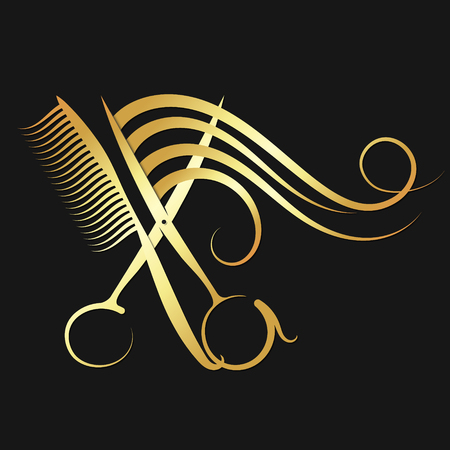 Hairdressing scissors and comb with hair of golden color