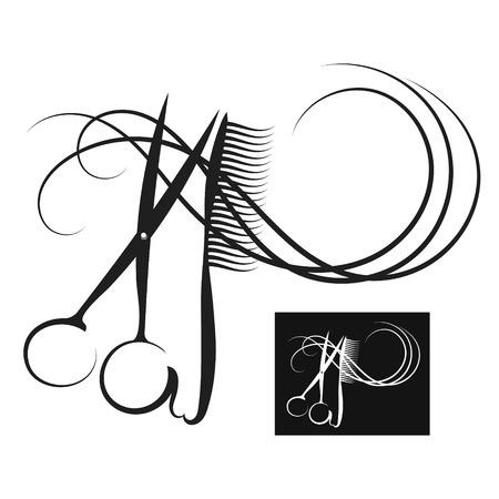 Scissors and comb with curl hair silhouette vector
