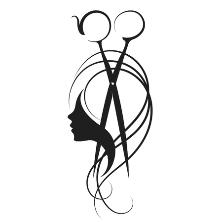 Scissors and girl with curls hair symbol for beauty salon
