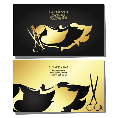 Beauty salon business card gold and black vector illustration