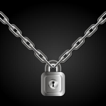 Lock hanging on chains vector Illustration