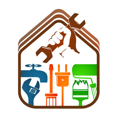 Repair and maintenance of home with tool symbol.