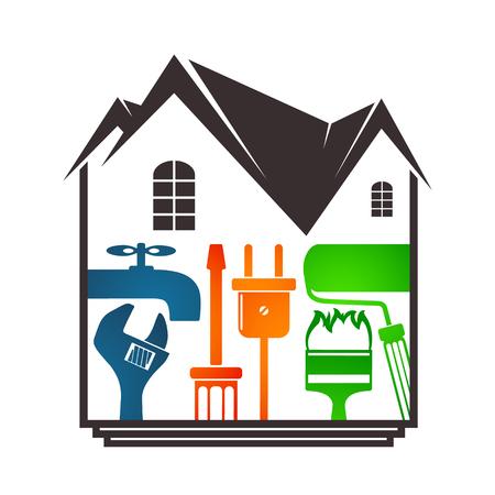 Home repair with tools design.