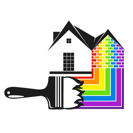 Brush with colored paint and house silhouette