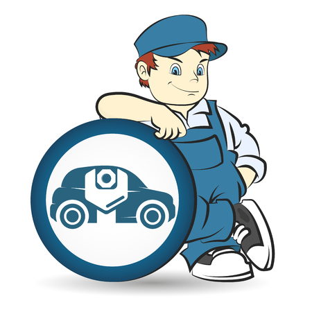 Car repairman in uniform vector Çizim