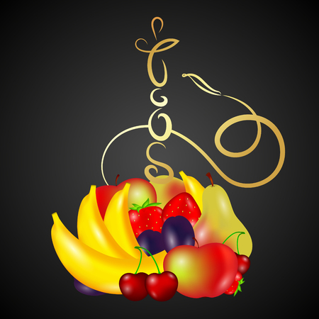 Hookah gold with different fruits vector