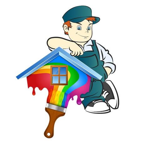 Pittore con la spazzola per l'illustrazione di verniciatura a casa Vettoriali