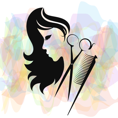 Beauty salon and hairdresser silhouette for business Çizim