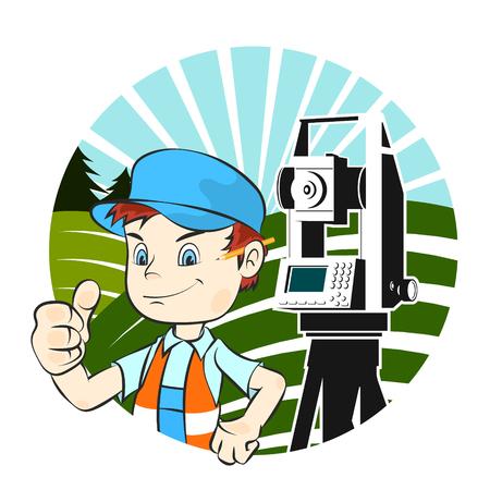 Surveyor in uniform and geodetic device