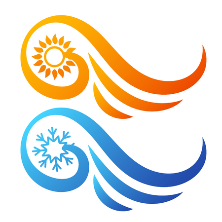 Air conditioning sun and snowflake with wings abstract symbol.