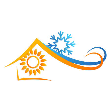 Sun and snowflake in house abstract symbol.