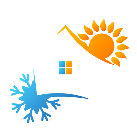 Air conditioning sun and snowflake symbol for business