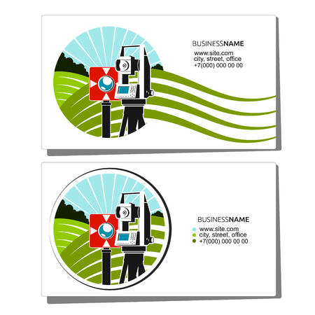 Geodesy and cadastre business card for surveyor Illustration