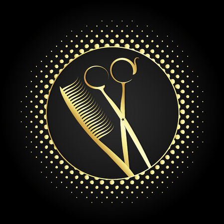 Scissors and comb design for beauty salon Illustration