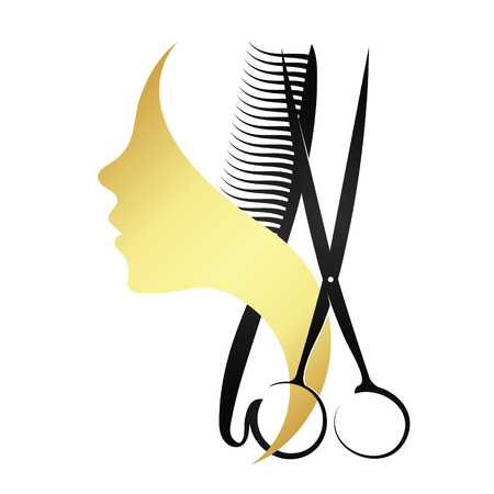 Silhouette of a girl with a comb and scissors for beauty salon Çizim