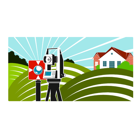 Surveying and mapping illustration of surveying instruments and green fields. Illustration