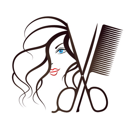 Face of a girl and scissors with comb symbol for beauty salon Illustration