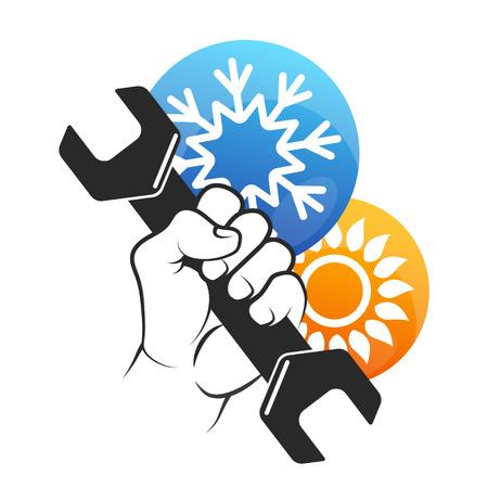 Reparatie airconditioner symbool van de zon en sneeuwvlok.