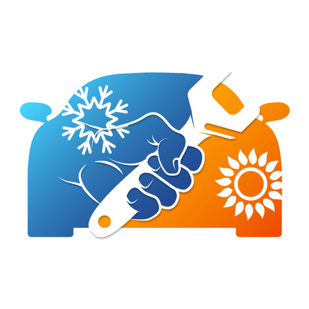 Spanner in hand for repairing car air conditioner illustration.