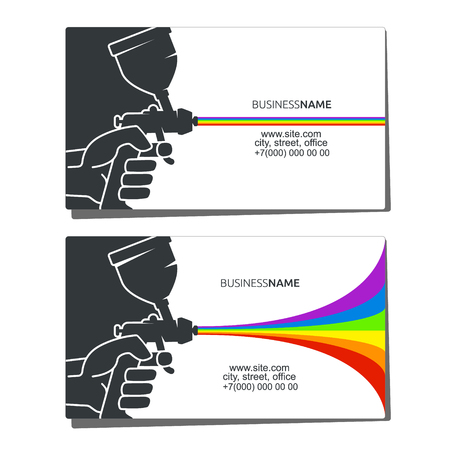 Business card concept for painting with a spray in hand Vector illustration.
