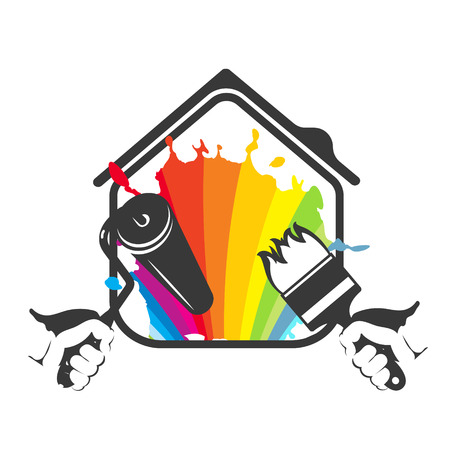 Painting house with tool silhouette vector 矢量图像