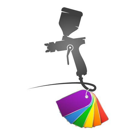 Spray gun with colored paint symbol