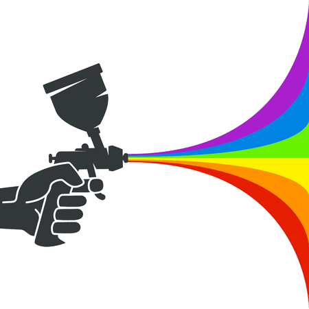 Spray gun with colored paint in the hand silhouette