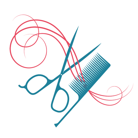 Hairdressing scissors and comb hair curl symbol for beauty salon