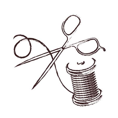 Scissors with thread coil silhouette Иллюстрация