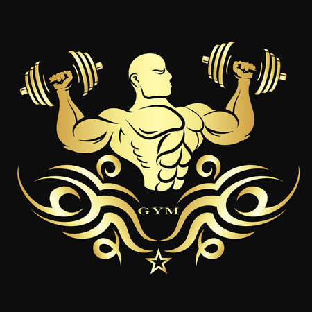 Athlete with dumbbells golden colored silhouette for the gym