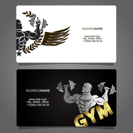 Visiting card for training in the gym and fitness Çizim