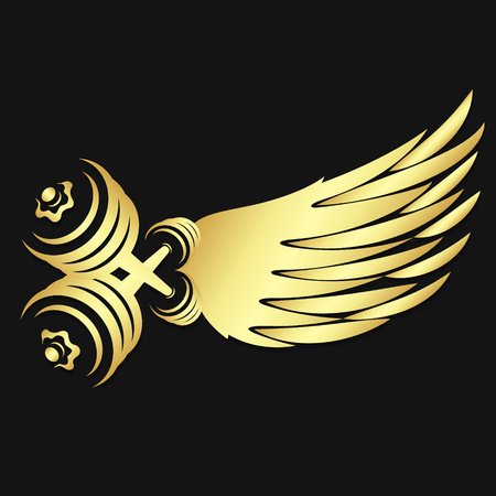 Dumbbells and wing symbol of gold color