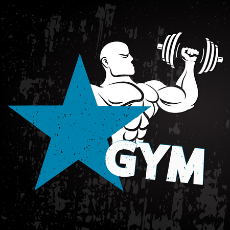 Gym athlete with dumbbell banner vector