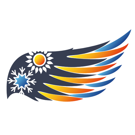 Sun and snowflake symbol wing air conditioner