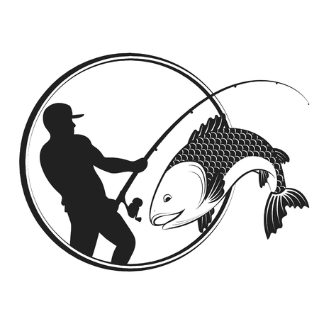 Fish and fisherman with a fishing rod silhouette