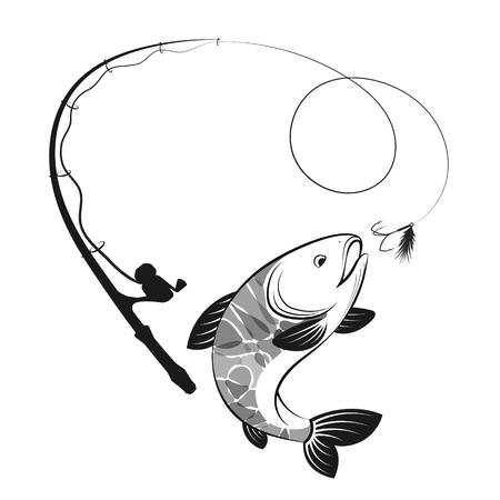 Fisch und Angelrute sind zum Angeln silhouettiert
