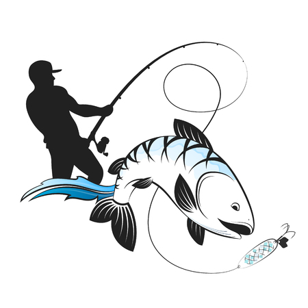 Fisherman with a fishing rod and fish silhouette design