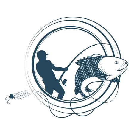 Silhouette de pêche d'un pêcheur et d'une canne à pêche