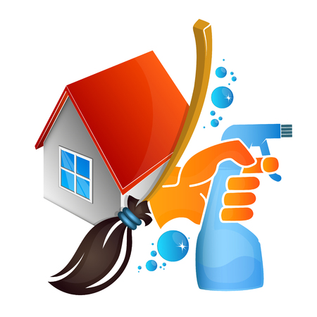 Service of cleaning and washing at home 向量圖像