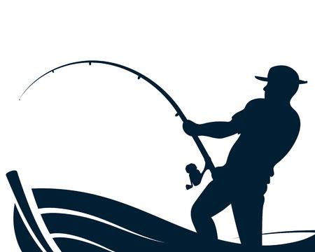 Pescatore con una canna da pesca in una silhouette di barca