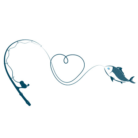 Fishing rod heart and fish on hook vector Vectores