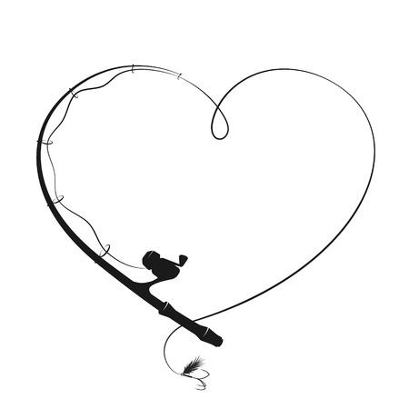 Canne à pêche sous la forme d'une silhouette de coeur Vecteurs