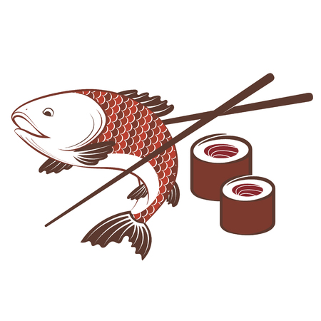 Fish and sushi with chopsticks for food