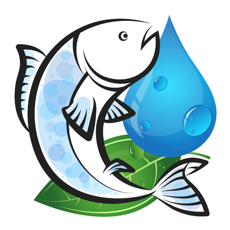 Fish with water drop and green leaf eco symbol
