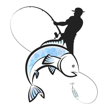 Fisherman with a fishing rod catches a fish design Illustration