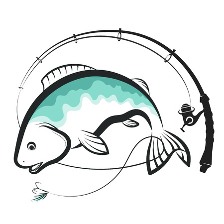 Fish and spinning with bait design Vettoriali