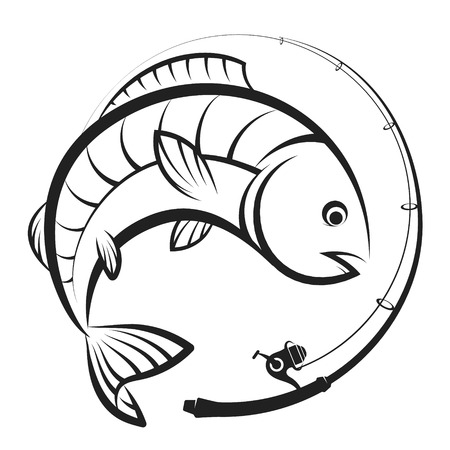 Fishing rod with spool and fish symbol for fishing
